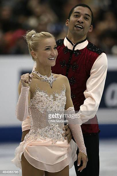 Aliona Savchenko and Robin Szolkowy of Germany celebrate afer their routine in the Pairs Free Skating Final during day three of the ISU Grand Prix of...