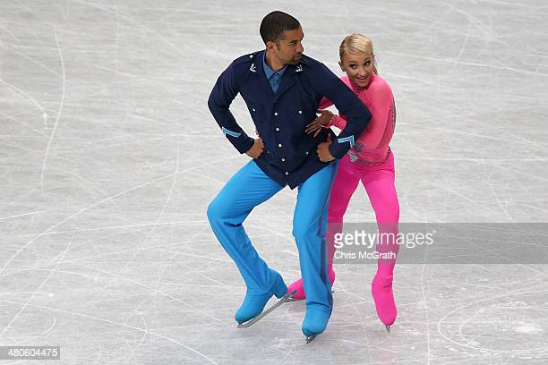 Aliona Savchenko and Robin Szolkowy of Germany compete in the Pairs Short Program during ISU World Figure Skating Championships at Saitama Super...