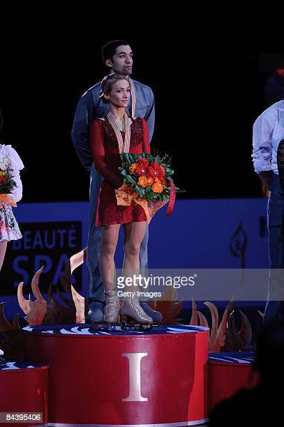 Aliona Savchenko and Robin Szolkowy of Germany during the victory ceremony at the ISU European Figure Skating Championship at the Hartwall Areena on...