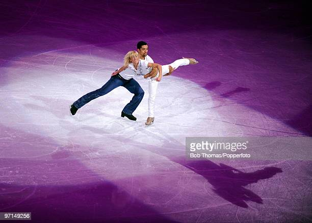 Aliona Savchenko and Robin Szolkowy of Germany perform at the Exhibition Gala following the Olympic figure skating competition at Pacific Coliseum on...