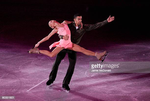 Aliona Savchenko and Robin Szolkowy of Germany performes in the Gala during the ISU World Figure Skating Championships at the Scandinavium Arena on...