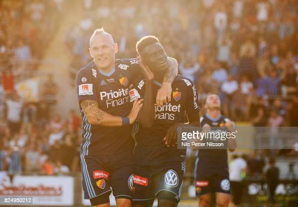 Aliou Badji of Djurgardens IF celebrates after scoring to 01 during the Allsvenskan match between Athletic FC Eskilstuna and Djurgardens IF at...