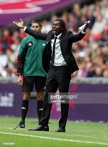 Aliou Cisse assistant coach of Senegal reacts during the Men's Football first round Group A Match between Senegal and Uruguay on Day 2 of the London...