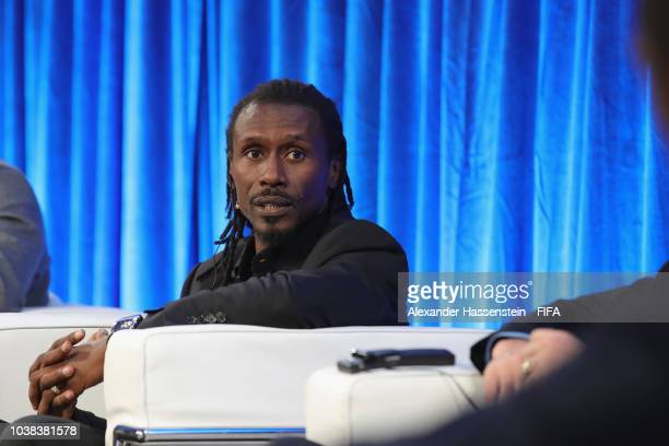 Aliou Cisse attends a podium discussion during the FIFA Football Conference at JW Marriott Grosvenor House Hotel on September 23 2018 in London...