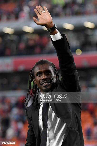 Aliou Cisse Head coach of Senegal acknowledges the fans following the 2018 FIFA World Cup Russia group H match between Japan and Senegal at...