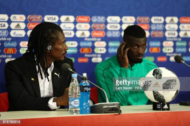 Aliou Cisse Head coach of Senegal and Mbaye Niang attend the post match press conference following the 2018 FIFA World Cup Russia group H match...