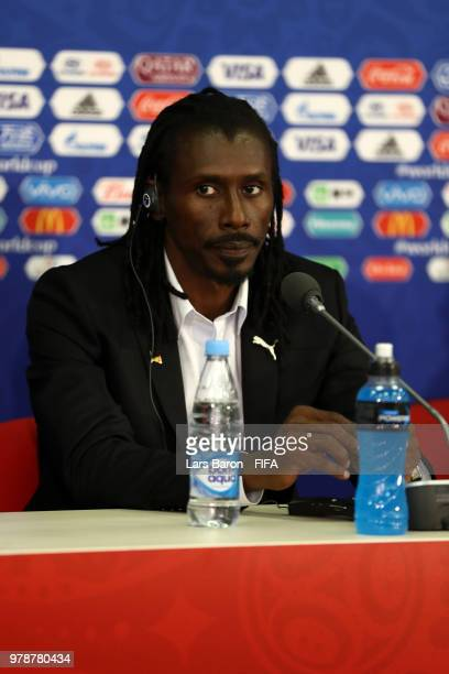 Aliou Cisse Head coach of Senegal attends the post match press conference following the 2018 FIFA World Cup Russia group H match between Poland and...