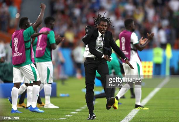 Aliou Cisse Head coach of Senegal celebrates after his team's second goal during the 2018 FIFA World Cup Russia group H match between Japan and...