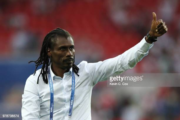 Aliou Cisse Head coach of Senegal celebrates after the 2018 FIFA World Cup Russia group H match between Poland and Senegal at Spartak Stadium on June...
