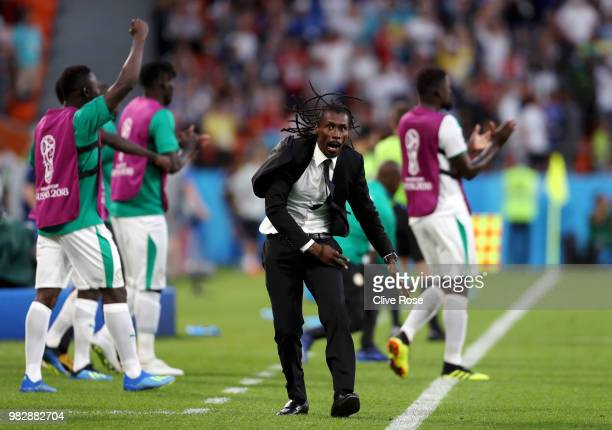 Aliou Cisse Head coach of Senegal celebrates his sides second goal during the 2018 FIFA World Cup Russia group H match between Japan and Senegal at...