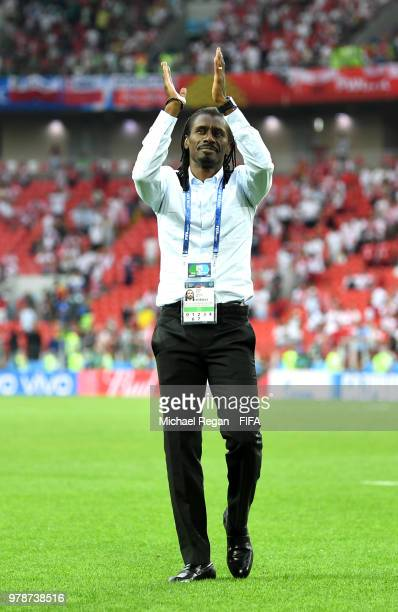 Aliou Cisse Head coach of Senegal claps the fans afterthe 2018 FIFA World Cup Russia group H match between Poland and Senegal at Spartak Stadium on...