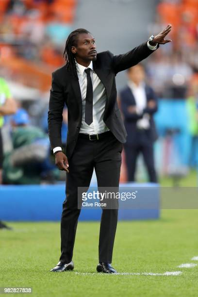 Aliou Cisse Head coach of Senegal gestures during the 2018 FIFA World Cup Russia group H match between Japan and Senegal at Ekaterinburg Arena on...
