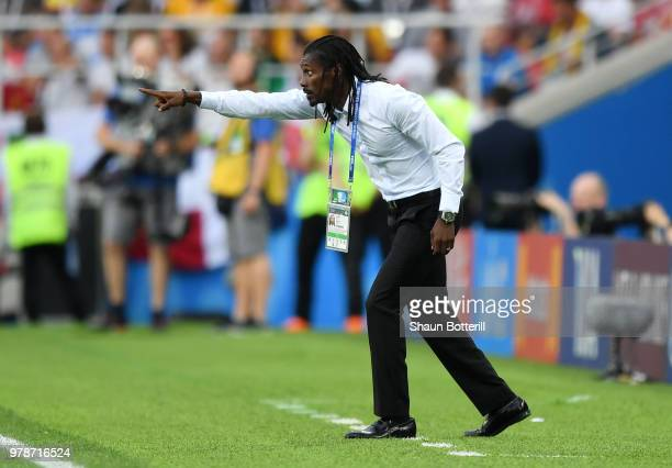 Aliou Cisse Head coach of Senegal gives his team instructions during the 2018 FIFA World Cup Russia group H match between Poland and Senegal at...