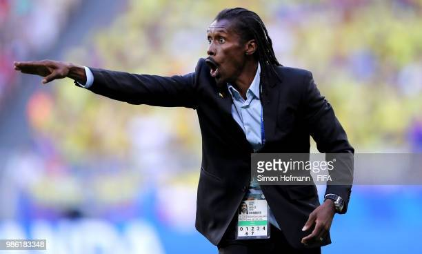 Aliou Cisse Head coach of Senegal gives his team instructions during the 2018 FIFA World Cup Russia group H match between Senegal and Colombia at...