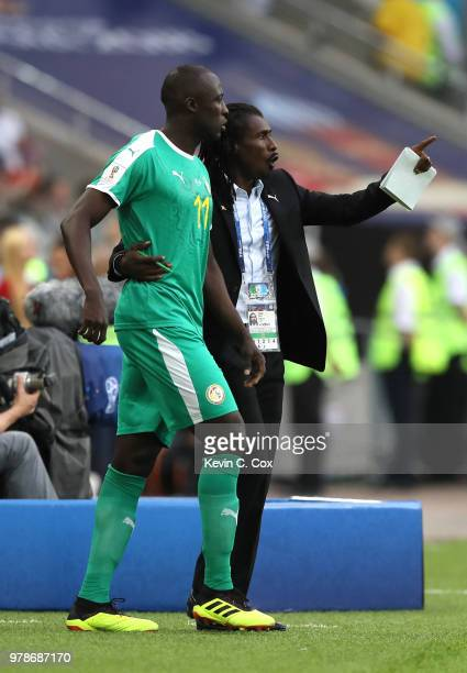Aliou Cisse Head coach of Senegal gives instructions to Cheikh Ndoye during the 2018 FIFA World Cup Russia group H match between Poland and Senegal...