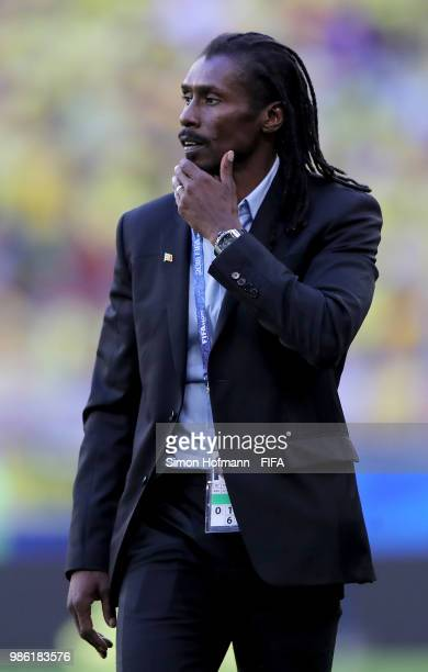 Aliou Cisse Head coach of Senegal looks dejected during the 2018 FIFA World Cup Russia group H match between Senegal and Colombia at Samara Arena on...