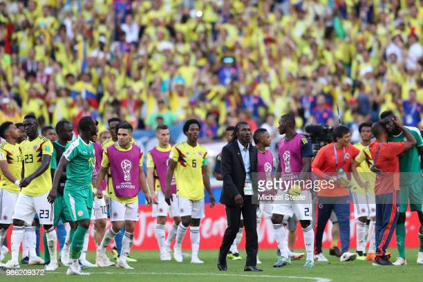 Aliou Cisse Head coach of Senegal looks dejected following his sides defeat in during the 2018 FIFA World Cup Russia group H match between Senegal...