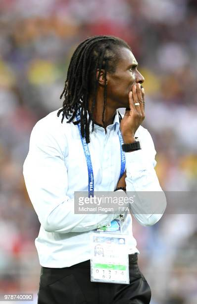 Aliou Cisse Head coach of Senegal looks on after the 2018 FIFA World Cup Russia group H match between Poland and Senegal at Spartak Stadium on June...
