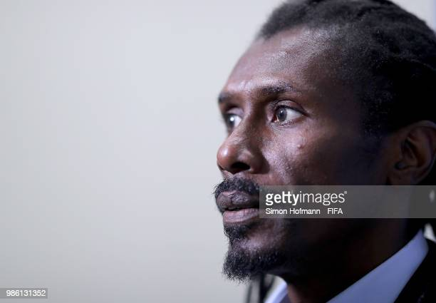 Aliou Cisse Head coach of Senegal looks on as he arrives at the stadium prior to the 2018 FIFA World Cup Russia group H match between Senegal and...