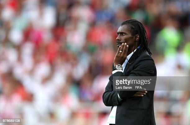 Aliou Cisse Head coach of Senegal looks on during the 2018 FIFA World Cup Russia group H match between Poland and Senegal at Spartak Stadium on June...