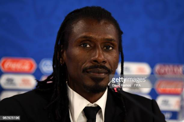 Aliou Cisse Head coach of Senegal looks on during the press conference after the 2018 FIFA World Cup Russia group H match between Japan and Senegal...