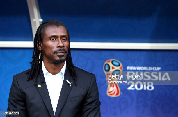 Aliou Cisse Head coach of Senegal looks on prior to the 2018 FIFA World Cup Russia group H match between Poland and Senegal at Spartak Stadium on...