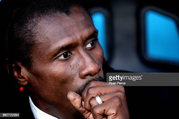 Aliou Cisse Head coach of Senegal looks on prior to the 2018 FIFA World Cup Russia group H match between Japan and Senegal at Ekaterinburg Arena on...