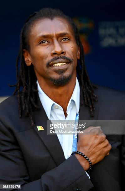 Aliou Cisse Head coach of Senegal looks on prior to the 2018 FIFA World Cup Russia group H match between Senegal and Colombia at Samara Arena on June...