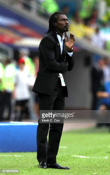 Aliou Cisse Head coach of Senegal makes a point during the 2018 FIFA World Cup Russia group H match between Poland and Senegal at Spartak Stadium on...