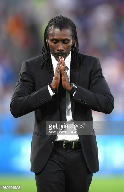Aliou Cisse Head coach of Senegal reacts during the 2018 FIFA World Cup Russia group H match between Japan and Senegal at Ekaterinburg Arena on June...