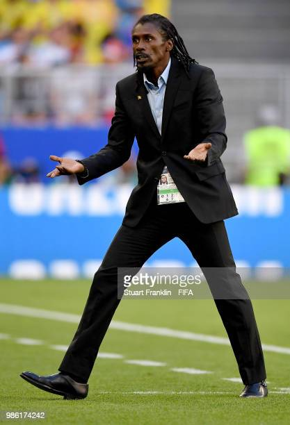 Aliou Cisse Head coach of Senegal reacts during the 2018 FIFA World Cup Russia group H match between Senegal and Colombia at Samara Arena on June 28...