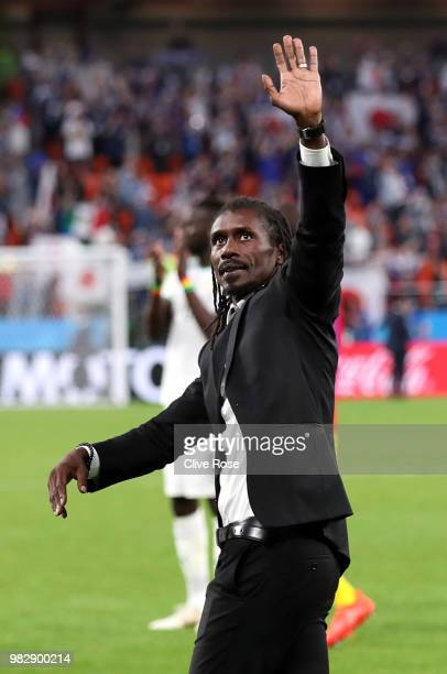 Aliou Cisse Head coach of Senegal shows appreciation to the fans after the 2018 FIFA World Cup Russia group H match between Japan and Senegal at...