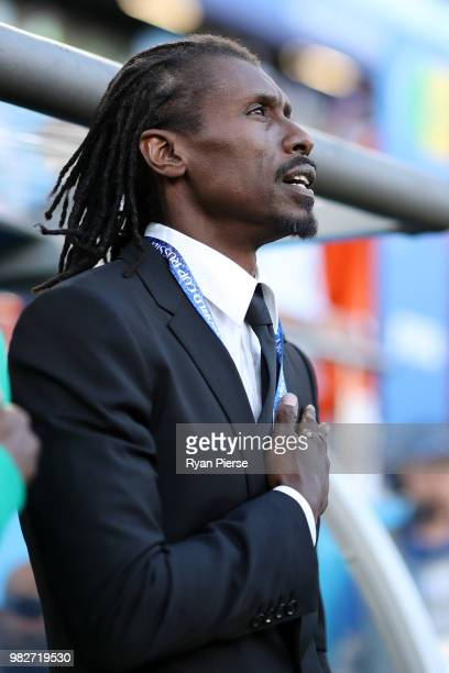Aliou Cisse Head coach of Senegal sings the national anthem prior to the 2018 FIFA World Cup Russia group H match between Japan and Senegal at...