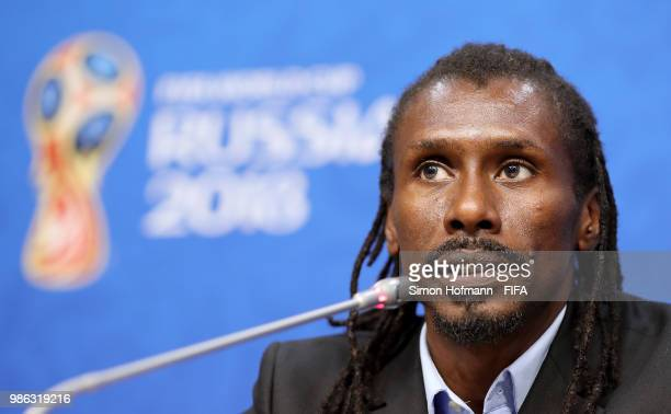 Aliou Cisse Head coach of Senegal speaks during a press conference after the 2018 FIFA World Cup Russia group H match between Senegal and Colombia at...