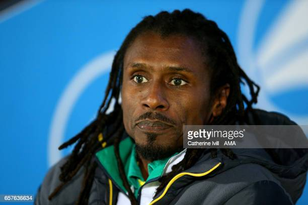 Aliou Cisse manager / head coach of Senegal during the International Friendly match between Nigeria and Senegal at The Hive on March 23 2017 in...