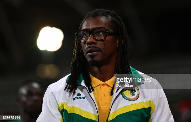 Aliou Cisse Manager of Senegal looks on during the International Friendly match between the Ivory Coast and Senegal at the Stade Charlety on March 27...