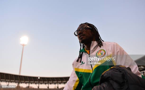 Aliou Cisse Manager of Senegal makes his way to the pitch prior to the International Friendly match between the Ivory Coast and Senegal at the Stade...