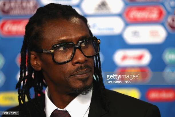 Aliou Cisse Manager Of Senegal Speaks To The Media After The Final Draw For The