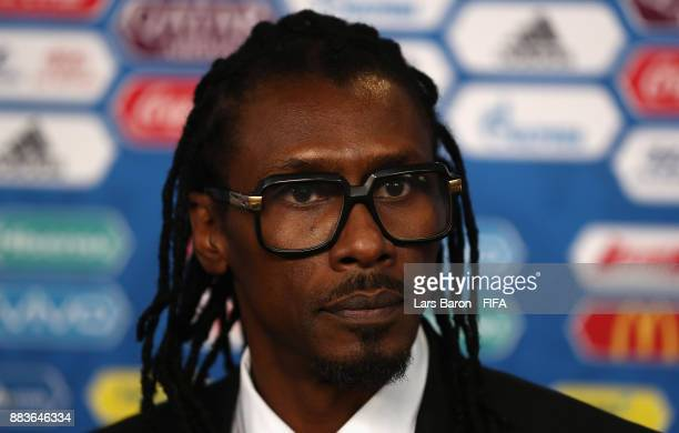 Aliou Cisse Manager of Senegal speaks to the media after the Final Draw for the 2018 FIFA World Cup Russia at the State Kremlin Palace on December 1...