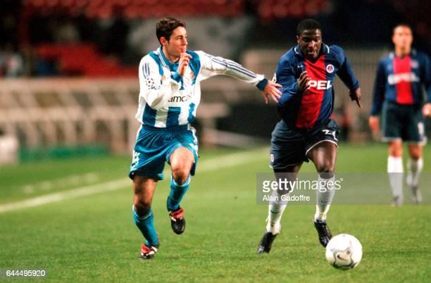 Aliou CISSE / Sanchez Del Amo VICTOR Paris Saint Germain / La Corogne Champions League 2000/2001 Photo Alain Gadoffre / Icon Sport