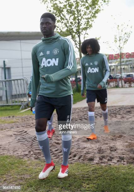Aliou Traore of Manchester United U18s in action during an U18s training session at Aon Training Complex on May 2 2018 in Manchester England