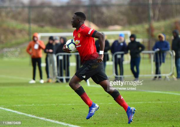 Aliou Traore of Manchester United U18s in action during the U18 Premier League North match between Manchester United U18s and Liverpool U18s at Aon...