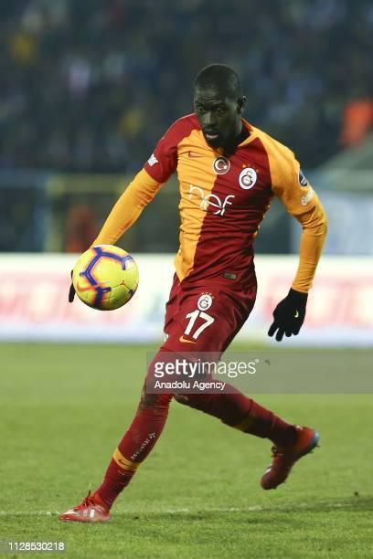 Alioune Ndiaye of Galatasaray in action during Turkish Super Lig soccer match between Buyuksehir Belediye Erzurumspor and Galatasaray at Kazim...