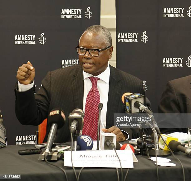 Alioune Tine Director of the regional office for West and Central Africa Amnesty International speaks during a press conference on the Amnesty...