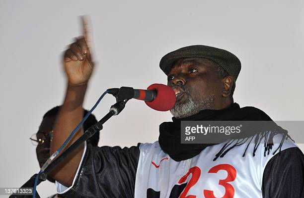 Alioune Tine president of the RADDHO speaks to supporters of the 'M23' a coalition of opposition parties during a rally on January 23 2012 in the...