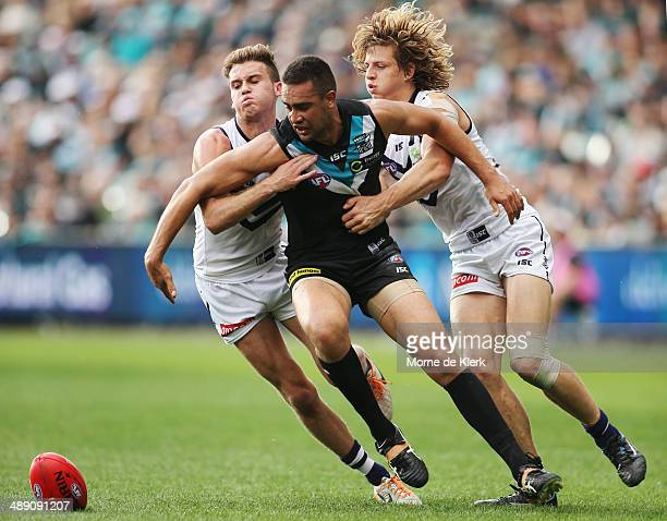 Alipate Carlile of the Power competes for the ball during the round eight AFL match between the Port Adelaide Power and Fremantle Dockers at Adelaide...