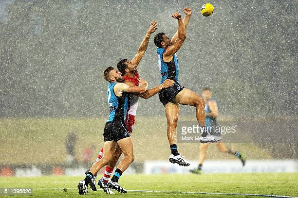 Alipate Carlile of the Power punches the ball during the 2016 NAB Challenge AFL match between the Sydney Swans and Port Adelaide Power at Blacktown...