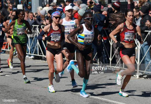 Aliphine Tuliamuk finished first Molly Seidel finished second and Sally Kipyego finished third in the women's race during the US Olympic marathon...