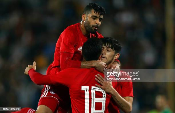 Alireza aJahanbakhsh and Mehdi Taremi of Iran celebrates after first goal during the international friendly match between Iran and Bolivia at Azadi...