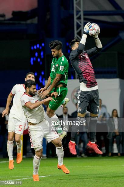 Alireza Beiranvand goalkeeper of Iran saves during the AFC Asian Cup Group D match between Iran and Iraq at Al Maktoum Stadium on January 16 2019 in...